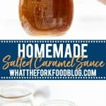 salted caramel sauce recipe collage image for Pinterest with text