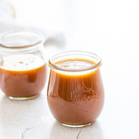 homemade salted caramel sauce recipe made and in small Weck Tulip jars