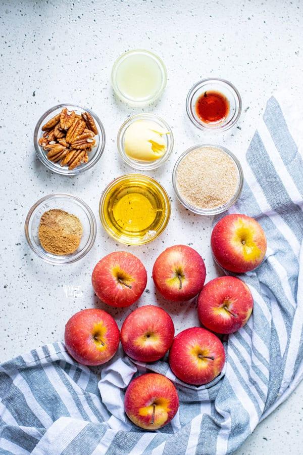 ingredients for Cinnamon Baked Apple Slices
