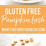 Gluten Free Pumpkin Lush Cake collage image with text for Pinterest