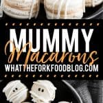 Mummy Macarons with Maple Cinnamon Filling collage image with text for Pinterest