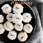 Mummy Macarons with Maple Cinnamon Filling image with text for Pinterest