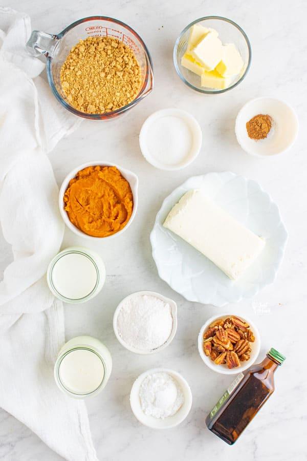ingredients for gluten free pumpkin lush cake