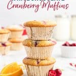 Gluten Free White Chocolate Cranberry Muffins long image with text for Pinterest