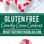 Festive Gluten Free Candy Cane Cookies image with text for Pinterest