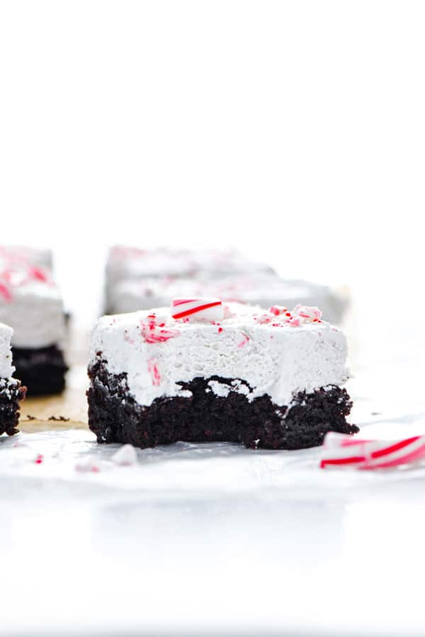 straight on shot of a gluten free peppermint brownie with a bite mark