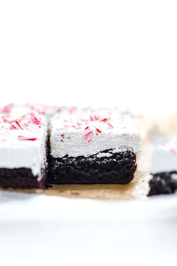 straight on shot of sliced gluten free peppermint brownies