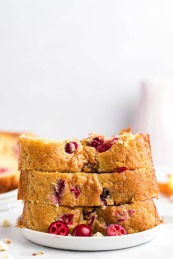 sliced and stacked gluten free white chocolate cranberry bread