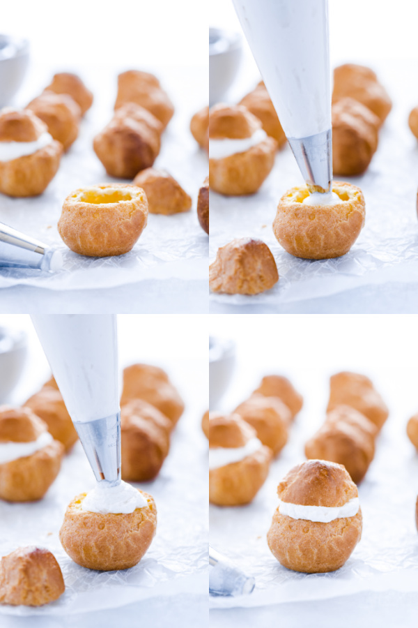 step by step photo collage of gluten free cream puffs being filled with whipped cream