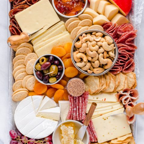 overhead shot of a gluten free charcuterie board ready to be served