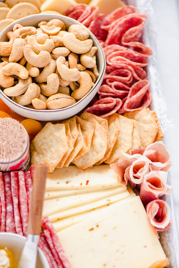 close up shot of a gluten free charcuterie board