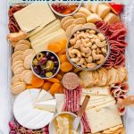 overhead shot of gluten free free Charcuterie Board with text overlay for Pinterest