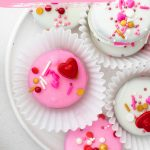 Valentine's Chocolate Covered Oreos image with text for Pinterest