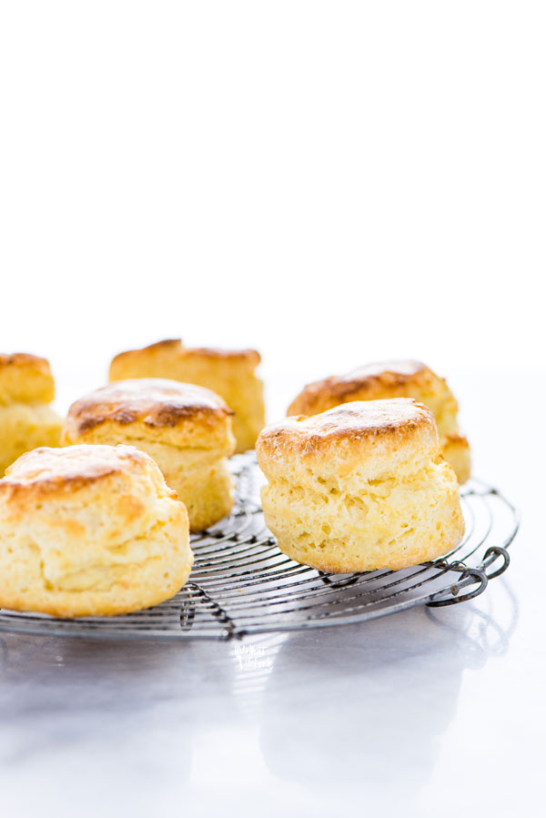 baked gluten free scones on a round wire cooling rack