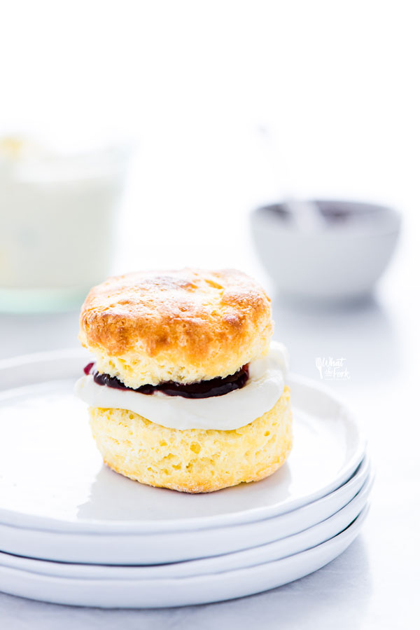 a gluten free scone sandwiched with clotted cream and jam