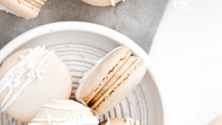 fisnished Baileys Irish Cream Macaron Recipe on a white plate ready to be served