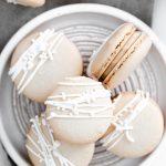 Baileys Irish Cream Macaron Recipe image with text for Pinterest