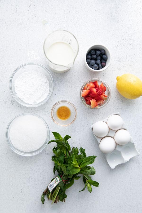 overhead shot of pavlova recipe ingredients
