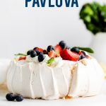 Classic Pavlova Recipe image with text for Pinterest