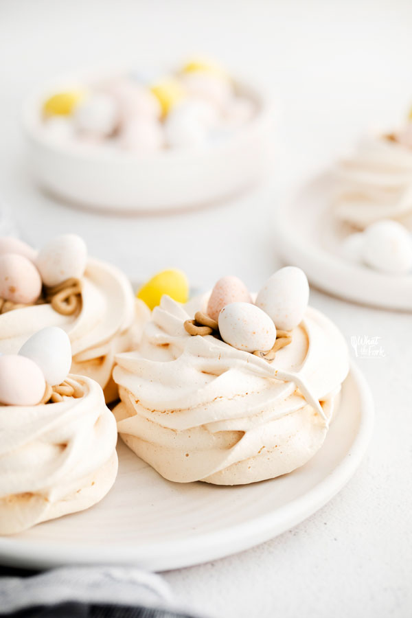 Easter Meringue Nests on a white plate