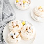 Easter Meringue Nests image with text for Pinterest