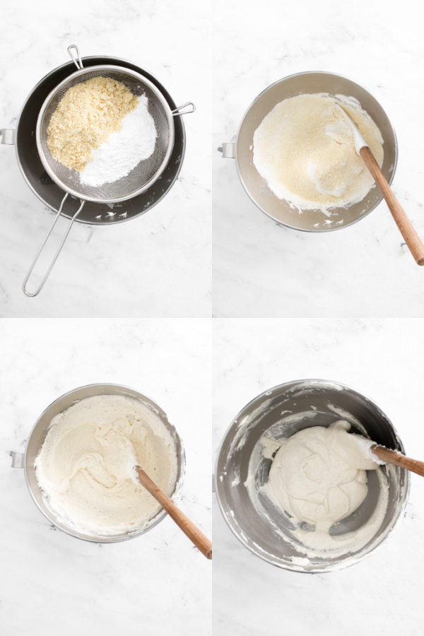 collage image of process images for making French Macarons