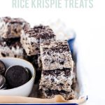 Gluten Free Cookies and Cream Rice Krispie Treats image with text for Pinterest
