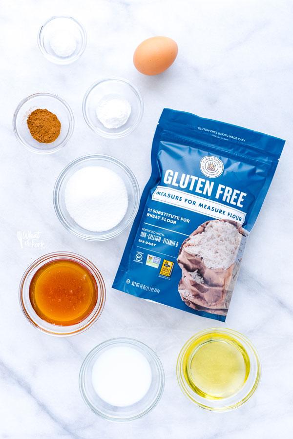 overhead shot of ingredients for Gluten Free Graham Crackers