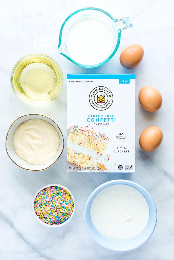 overhead shot of ingredients to make a gluten free confetti cake pop recipe