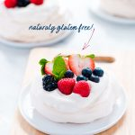 Mini Pavlova Recipe (Naturally Gluten Free Dessert) image with text for Pinterest