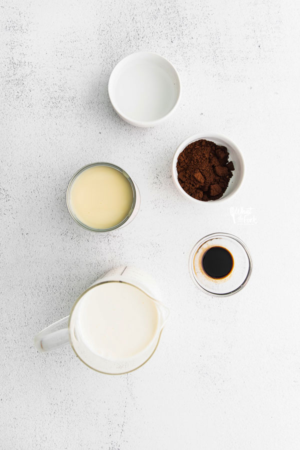 ingredients in individual bowls for a No Churn Coffee Ice Cream Recipe