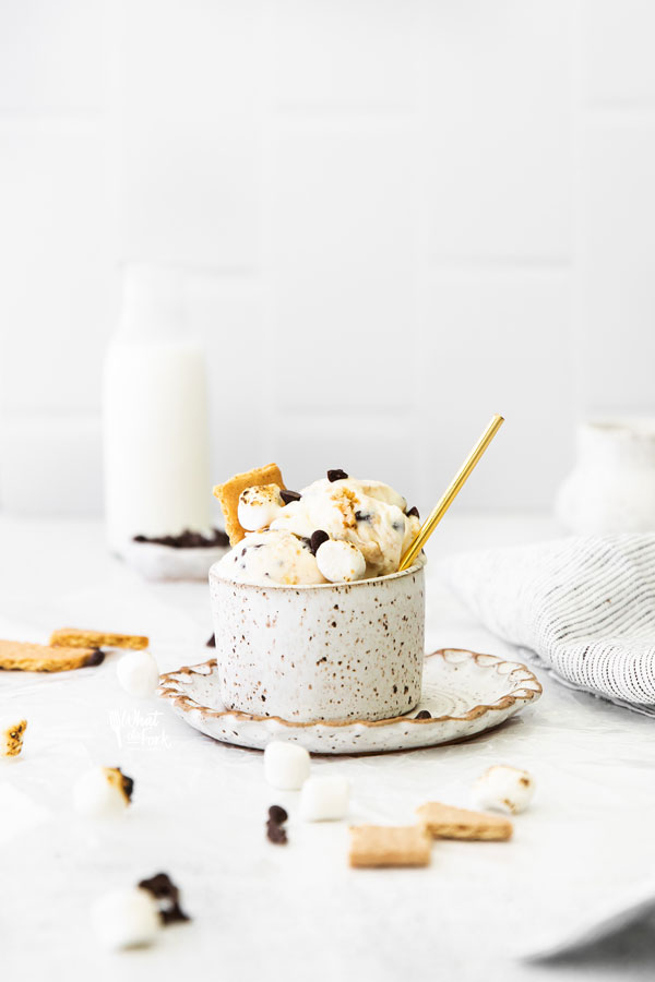 No Churn S'mores Ice Cream in a pottery cup on a pottery plate with a gold spoon