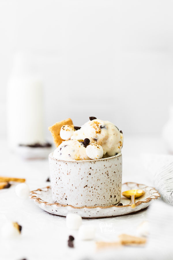 No Churn S'mores Ice Cream in a pottery bowl garnished with mini chocolate chips and graham crackers