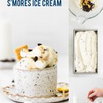 No Churn S'mores Ice Cream collage image with text for Pinterest