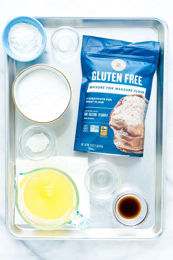 overhead shot of ingredients to make Gluten Free Angel Food Cake