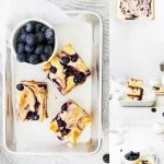 Gluten Free Blueberry Cheesecake Bars collage image with text for Pinterest