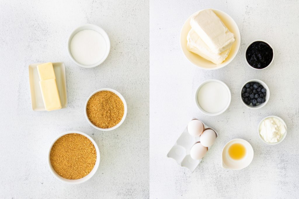 overhead shot of ingredients for blueberry cheesecake bars