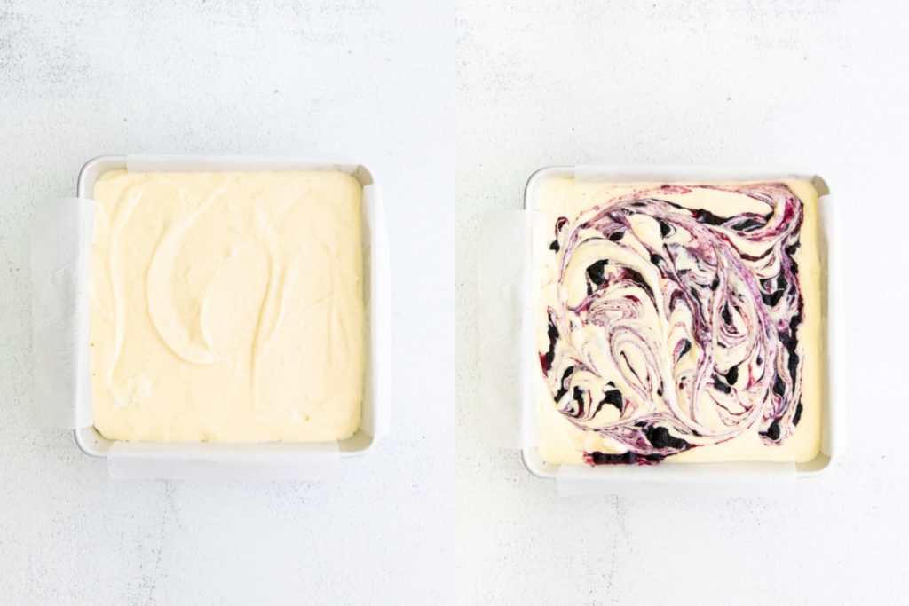 overhead process shots of cheesecake bars one with and one without a blueberry swirl