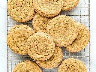 Gluten Free Brown Sugar Cookies piled on a rectangular wire rack