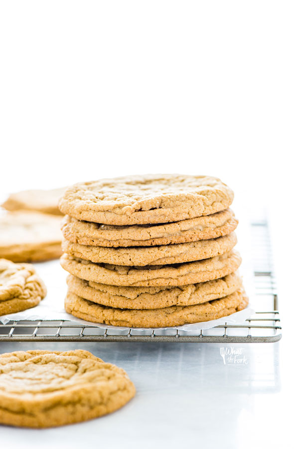 a stack of Gluten Free Brown Sugar Cookies on a wire rack