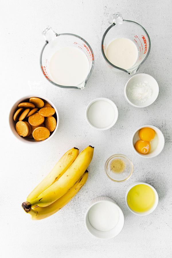 gluten free banana pudding recipe ingredients in individual bowls