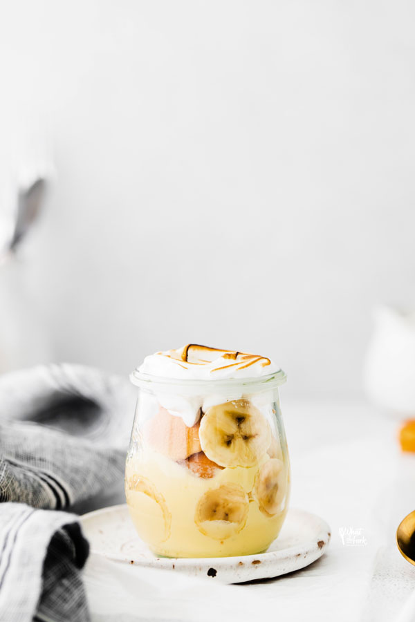 Banana Pudding Recipe in an individual glass jar ready to be served