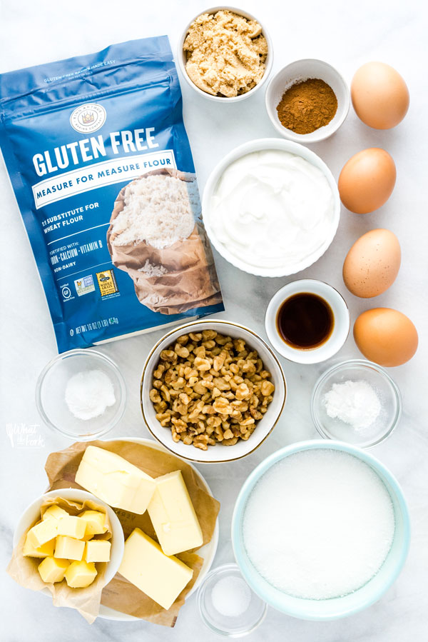 overhead shot of ingredients to make a Gluten Free Sour Cream Coffee Cake Recipe