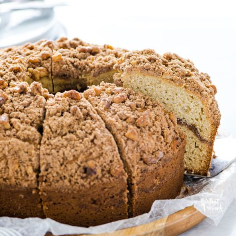 a slice of gluten free sour cream coffee cake being served