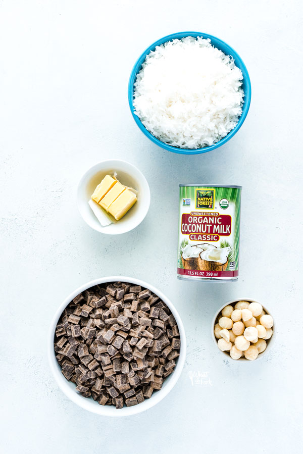 ingredients for Macadamia Nut Chocolate Pie with Coconut Crust