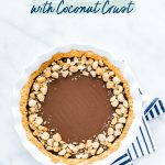 Macadamia Nut Chocolate Pie with Coconut Crust image with text for Pinterest