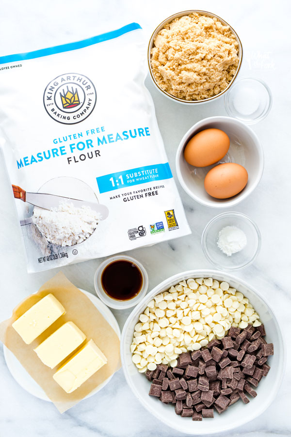 overhead shot of ingredients to make gluten free blondies