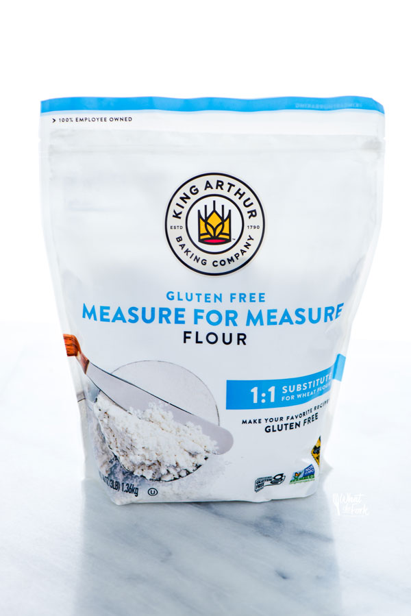 a bag of King Arthur Gluten Free Measure for Measure Flour with new white packaging