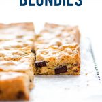 gluten free blondies image with text for Pinterest
