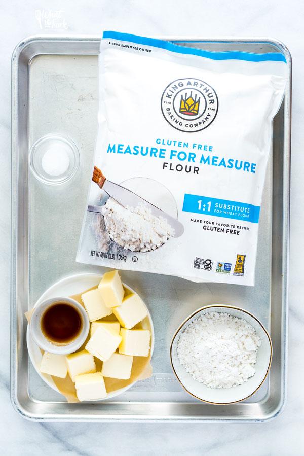 overhead shot of ingredients to make Gluten Free Shortbread Cookies